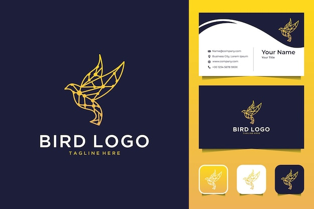 Bird with low poly modern logo design and business card