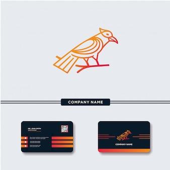 Bird with Monoline Style Logo Vector Template
