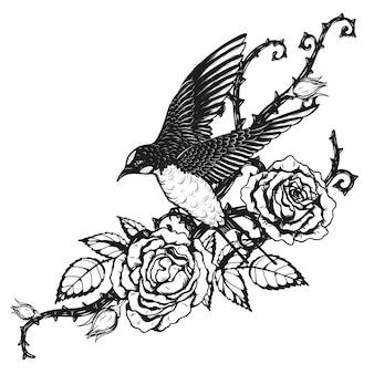 Птица с розой татуировка от руки рисунок