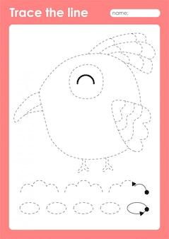 Bird - таблица дошкольных работ по трассировке линий для детей для отработки мелкой моторики