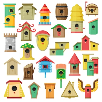 Birdhouse cartoon set icon.
