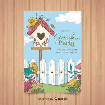 Birdhouse spring party poster template