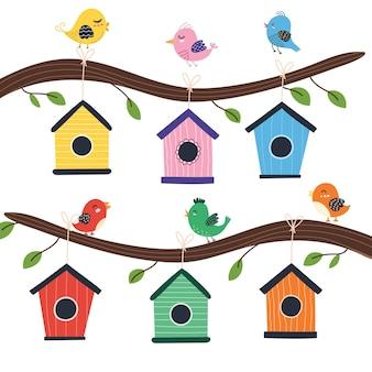 かわいい鳥のイラストと巣箱の木