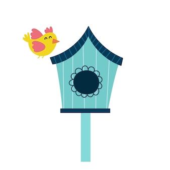 Birdhouse with a cute yellow bird illustration