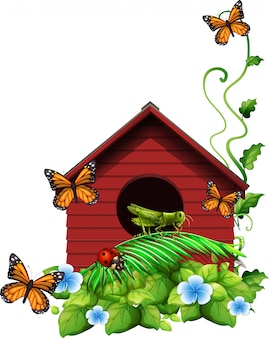 Birdhouse with flowers and insects