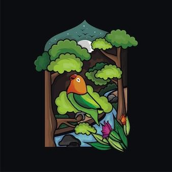 새와 아름다운 자연 경관