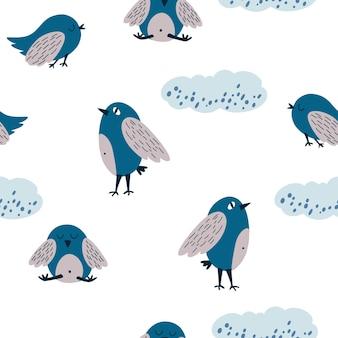 鳥と雲のシームレスなパターン。雲の中で舞い上がるかわいい鳥を手描きします。面白いハト。生地、ポストカード、プリント、ポスター、カバー、壁紙用。ベクトルイラスト。