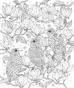 Раскраска птицы и цветы гульдовы зяблики