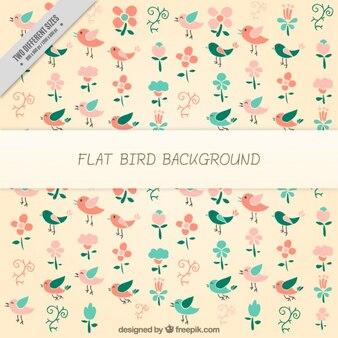 새와 꽃 패턴