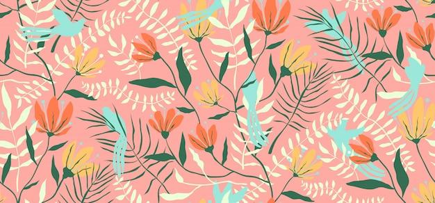 Птицы и цветы бесшовные модели