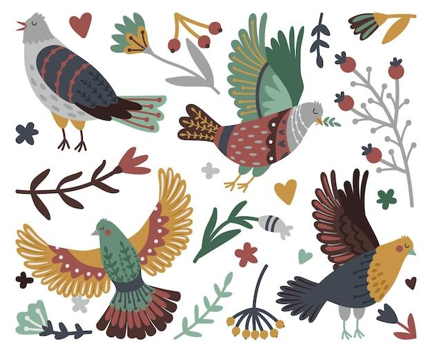 새와 숲 디자인 요소입니다. 귀여운 새 세트 주위에 나뭇잎이 있는 손으로 그린 베리와 가지, 흰색 배경에 격리된 날개를 가진 날아다니는 야생 새의 벡터 그림