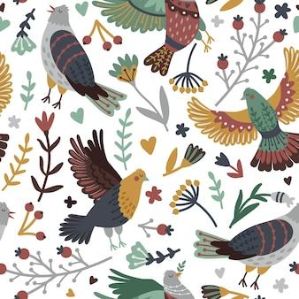 鳥と森の要素のシームレスなパターン。かわいい鳥のセットの周りの葉とベリーと手描きの枝、白いbackgrで分離された翼を持つ空飛ぶ鳥のベクトルイラスト