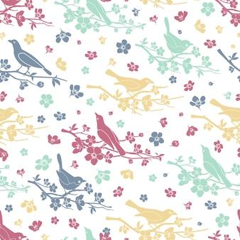 鳥や小枝のシームレスなパターン。花と枝、装飾愛とロマンチック、デザイン花、ベクトルイラスト