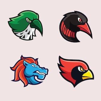 鳥と動物のマスコットロゴ