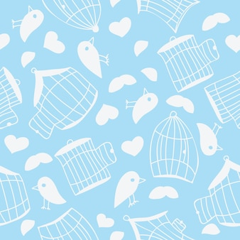 Birds and bird cages. seamless pattern - vector illustration