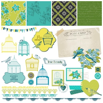 Birds and birdcages collection scrapbook