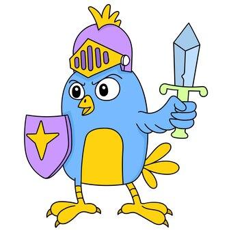 전쟁을 위해 준비한 검과 방패를 들고 있는 새들, 캐릭터 귀여운 낙서들이 그립니다. 벡터 일러스트 레이 션 프리미엄 벡터