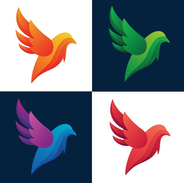 Birds colorful silhouette abstract logo collection