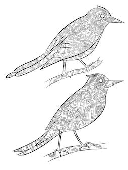 ページを着色する鳥。彼らの体の漫画のイラストに直線的な花柄の空飛ぶ野生のカナリア。