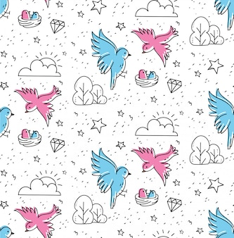Birds couple seamless pattern in kawaii doodle style