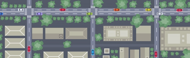 Вид с высоты птичьего полета или план современного города с коммерческими жилыми зданиями улицы и автомобили на дорогах городская карта городской пейзаж верхний угол зрения горизонтальный