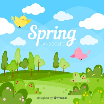 Birds in a field spring background
