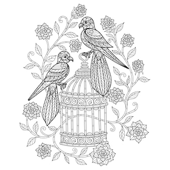Birds and flower. hand drawn sketch illustration for adult coloring book.