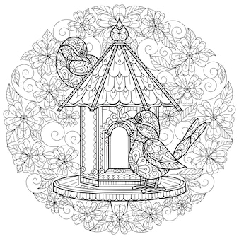 Birds and flowers hand drawn sketch illustration for adult coloring book