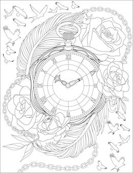 美しいバラと大きな羽に囲まれたアンティークの懐中時計の周りを描く鳥が飛んでいます。咲く花で囲まれたヴィンテージタイマー線画。
