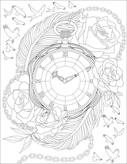 Birds flying drawing around antique pocketwatch surrounded by beautiful roses and large feathers. vintage timer line drawing enclosed with blooming flowers.