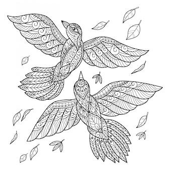 Птицы летают. ручной обращается эскиз иллюстрации для взрослых книжка-раскраска