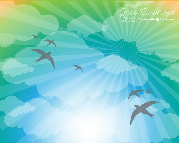 Birds flying to the sun