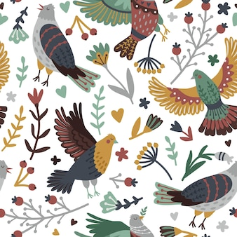 Birds and forest elements seamless pattern. hand drawn branches with leaves and berries around cute bird set, vector illustration of flying fowls with wings isolated on white backgr