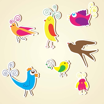 Birds icons colorful collection set vectors illustrations