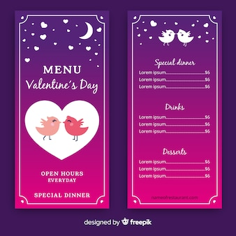 Birds kissing valentine menu template