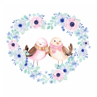 Birds in love in heart shape floral wreath