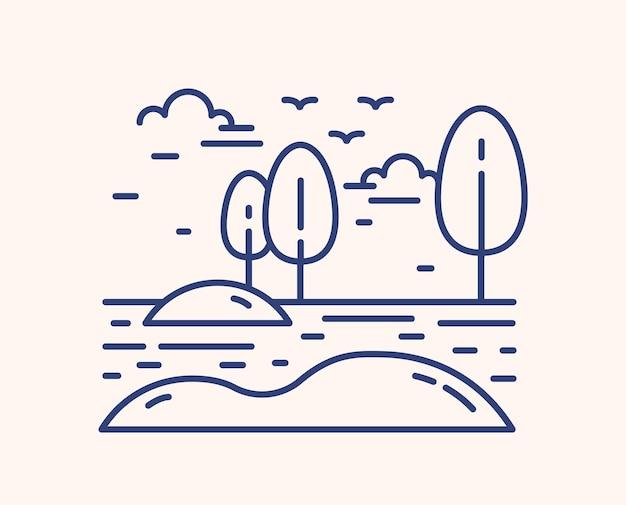 새 마이그레이션 개요 벡터 일러스트 레이 션. 선형 풍경 흰색 배경에 고립입니다. 초원에 시골 환경, 나무와 눈 더미. 새들은 날아가서 돌아옵니다. 가, 봄 풍경입니다.