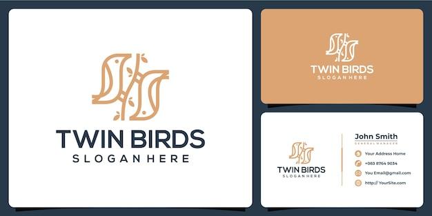 名刺テンプレートと鳥のモノラインロゴ