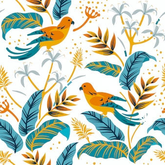 Birds in the nature pattern