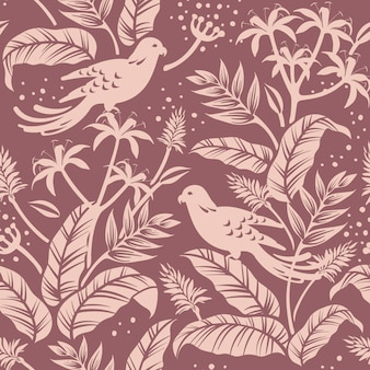 Birds in nature seamless patterned background vector