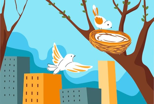 도시 봄 시즌 벡터에서 나무에 둥지를 틀 새