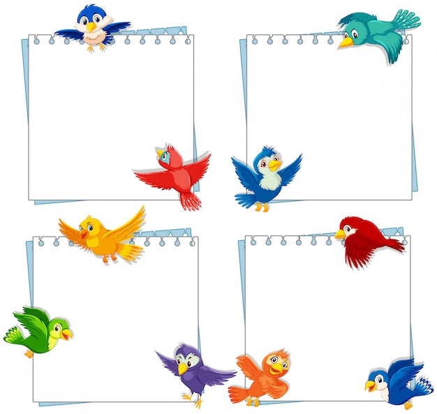 Birds on note template