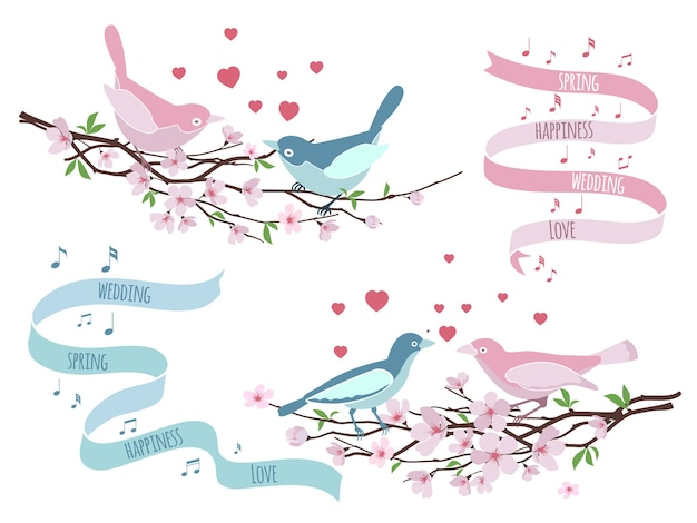 結婚式の招待状のための枝の鳥。花の装飾、愛とロマンチックな、花柄のデザイン。ベクトルイラスト