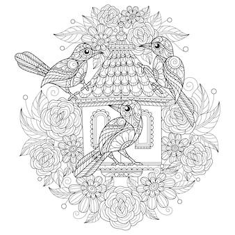 白い背景の上の鳥大人の塗り絵の手描きスケッチ