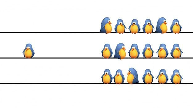 ワイヤー上の鳥