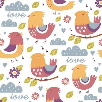 Birds pattern design Free Vector