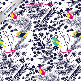 Birds and plants pattern