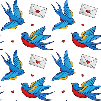 Birds and postcards fliying seamless pattern