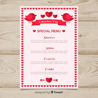 Birds and ribbon valentine menu template
