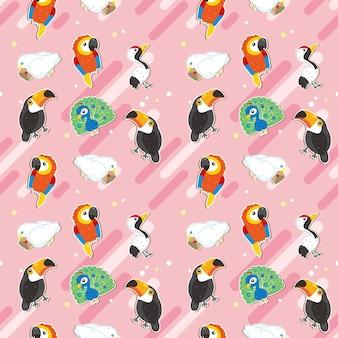 鳥のシームレスなパターンデザイン、ピンクの背景の上のかわいい鳥のさまざまな種